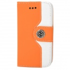 Stylish PU + Plastic Flip-Open Case w/ Card Slots / Stand for Iphone 4 / 4s - Orange + White