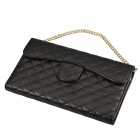Stylish Plaid Handbag Style Plastic + PU leather Case w/ Card Slot for Samsung Galaxy Note 3 - Black