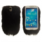 Keep Warm PC Back Case w/ Artificial Rabbit Hair for Samsung Galaxy S4 i9500 - Black + White