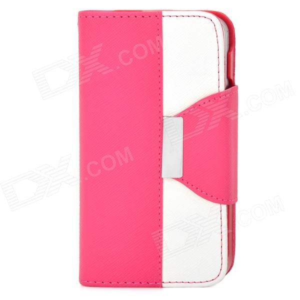 Stylish PU + Plastic Case w/ Stand / Strap / Card Slots for Iphone 4 / 4s - White + Deep Pink аккумулятор внешний inter step pb26001u black red
