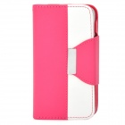 Stylish PU + Plastic Case w/ Stand / Strap / Card Slots for Iphone 4 / 4s - White + Deep Pink