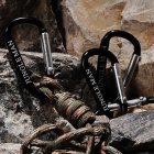Multi-Function Buckle Carabiner Keychain - Black + Silver