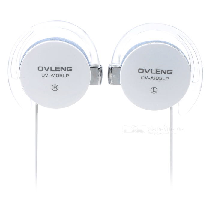OVLENG OV-A105LP 3.5mm Ear-hook Earphone w/ Volume Control - White (Pair)