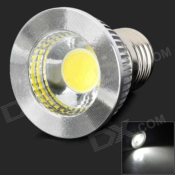 LED E27-COB-5W-W E27 5W 400lm 6500K 1-COB White LIght Bulb - White + Silver (AC 85~265V)E27<br>Color White + Silver Color BIN White Brand LED Model E27-COB-5W-W Material Aluminum Quantity 1 Piece Power 5W Rated Voltage AC 85-265 V Connector Type E27 Chip Brand Epistar Chip Type COB 5W Emitter Type COB Total Emitters 1 Theoretical Luminous 400 lumens Actual Luminous 325~400 lumens Color Temperature 6500 K Dimmable yes Beam Angle 140 ° Wavelength 280-720nm Packing List 1 x LED bulb<br>