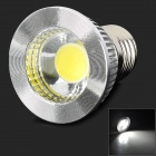LED E27-COB-5W-W E27 5W 400lm 6500K 1-COB White LIght Bulb - White + Silver (AC 85~265V)
