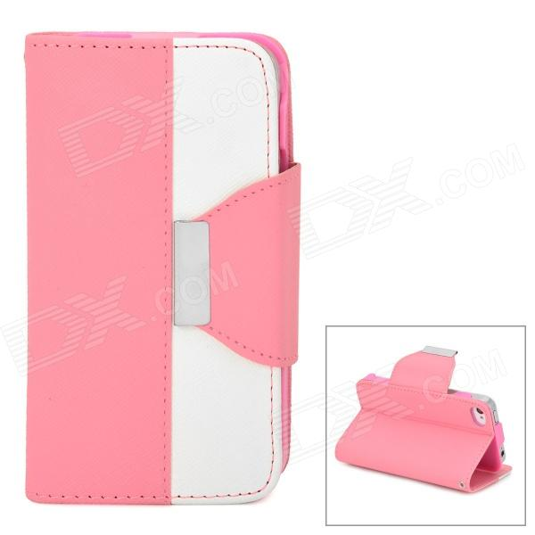 Stylish PU + Plastic Case w/ Stand / Strap / Card Slots for Iphone 4 / 4s - White + Pink glossy leather wallet stand cover with 5 card slots for iphone 7 4 7 white