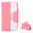 Stylish PU + Plastic Case w/ Stand / Strap / Card Slots for Iphone 4 / 4s - White + Pink
