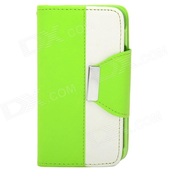 Stylish Flip-Open PU + Plastic Case w/ Stand / Strap / Card Slots for Iphone 4 / 4s - White + Green stylish pattern protective flip open pu leather case w stand card slots for iphone 6 4 7 white