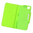 Stylish Flip-Open PU + Plastic Case w/ Stand / Strap / Card Slots for Iphone 4 / 4s - White + Green