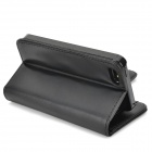 Protective PU + Plastic Case Cover w/ Card Slots for IPHONE 5S - Black
