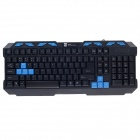 R8-1820 Mute Waterproof Multimedia USB Wired Gaming Keyboard - Black + Blue (130cm-Cable)