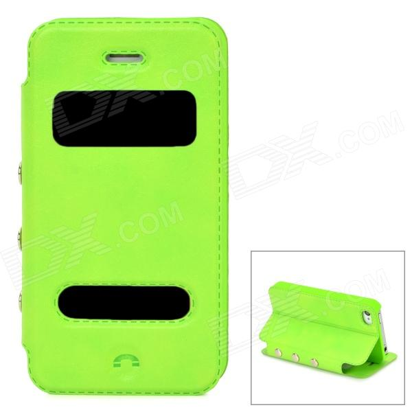 Protective PU Leather + Plastic Flip-Open Case for Iphone 4 / 4s - Green protective pu leather flip open case for iphone 4 4s black