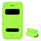 Protective PU Leather + Plastic Flip-Open Case for Iphone 4 / 4s - Green