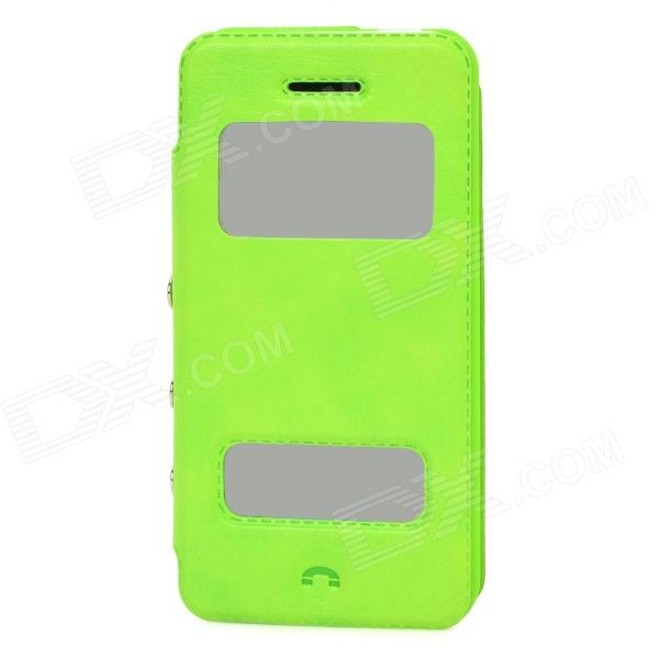 Stylish PU Leather + Plastic Flip-Open Case for Iphone 5C - Green protective flip open pu leather plastic case for iphone 5c blue