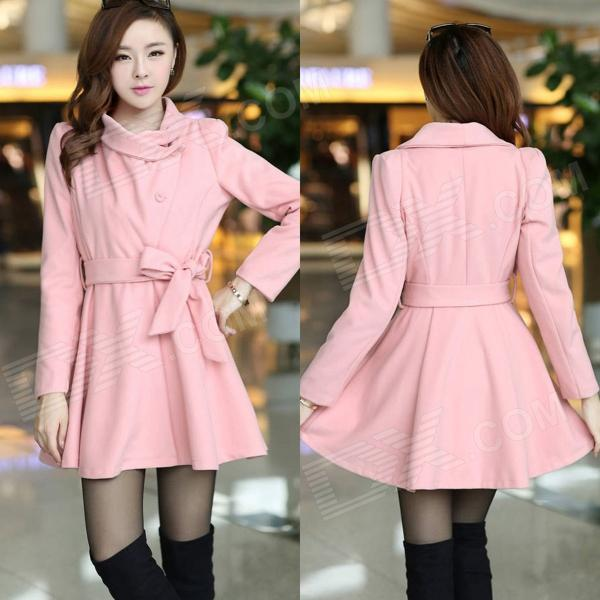 Fashionable Women's Woolen Fit Dress Coat - Pink (Size L)