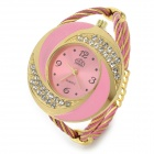 Fashion Women Steel Wire Quartz Wrist Watch - Pink + Golen (1 x 377)