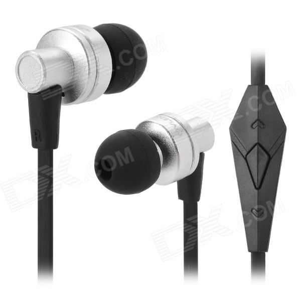 OVLENG iP640 3.5mm Bass In-ear Earphone w/ Microphone - Black Grey + Silver