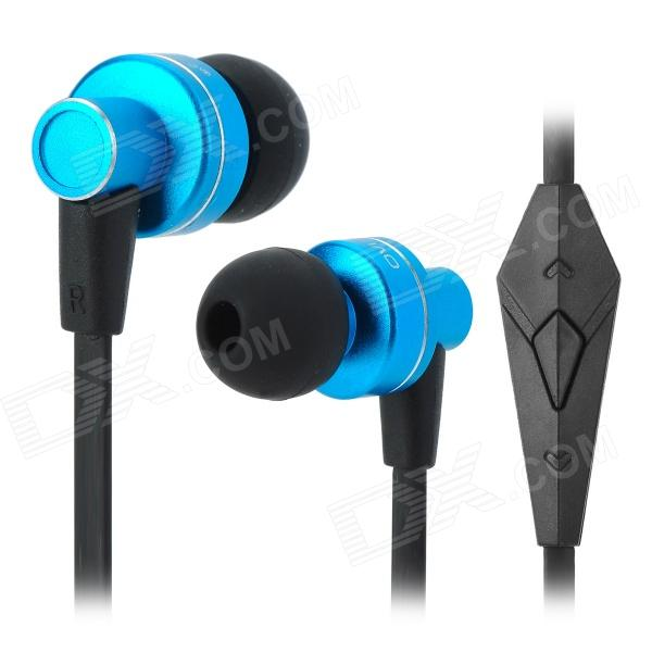 OVLENG iP640 Stylish In-Ear Earphones w/ Microphone - Black + Blue (3.5mm Jack / 1.2m) ovleng ip680 stylish in ear earphones w microphone for samsung iphone htc black silver