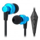 OVLENG iP640 Stylish In-Ear Earphones w/ Microphone - Black + Blue (3.5mm Jack / 1.2m)
