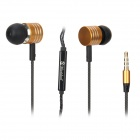 Mosidun Aluminum alloy In-Ear Earphones w/ Microphone for Iphone / Samsung - Golden (3.5mm Plug)