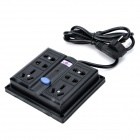 Multifunction 6-Outlet Electric AC Power Bar Strip Splitter w/ Switch - Black (250V)
