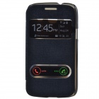 TEMEI PU Leather Case Cover w/ Visual Window / Slide to Unlock for Samsung Galaxy Core i8262 - Black