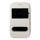 TEMEI PU Leather Case w/ Visual Window / Slide to Unlock for Samsung Galaxy Core i8262 -Silver White