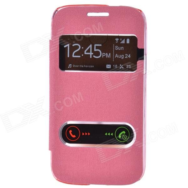 TEMEI PU Leather Case Cover w/ Visual Window / Slide to Unlock for Samsung Galaxy Core i8262 - Pink