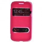 TEMEI PU Leather Case Cover w/ Visual Window / Slide to Unlock for Samsung Galaxy Core i8262 - Red