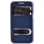 TEMEI PU Leather Case w/ Visual Window / Slide to Unlock for Samsung Galaxy Win i8552 - Deep Blue