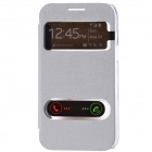 TEMEI PU Leather Case w/ Visual Window / Slide to Unlock for Samsung Galaxy Win i8552 - Silver White