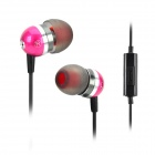 Jolly Roger Stylish In-Ear Earphones w/ Microphone / Cable Control - Deep Pink + Black