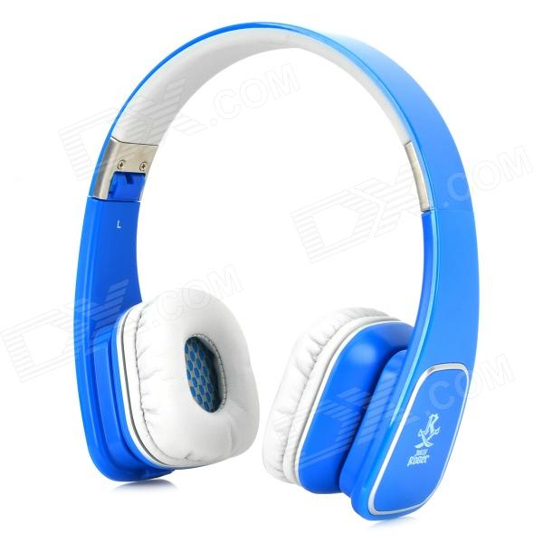 Jolly Roger M1 Folding Headphones w/ Microphone for Iphone / Ipad / Samsung - Blue + Grey pop relax germanium tourmaline waist belt jade stone far infrared thermal physical therapy massager health electric massage belt