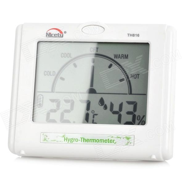 NICETY TH816 4.0'' LCD Digital Household Thermometer/Hygrometer - White (1 x AA Battery)
