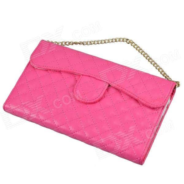 Plaid Handbag Style Plastic + PU leather Case w/ Card Slot for Samsung Galaxy Note 3 - Deep Pink protective pu leather case w card slot for samsung galaxy tab3 p3200 deep pink