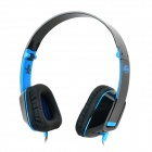Jolly Roger M2 Folding Headphones w/ Microphone / Cable Control - Black + Blue (3.5mm Plug / 1.2m)
