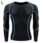 Santic MN120252 Men's Outdoor Cozy Sports Jersey for Hiking / Cycling - Black + Blue (L)