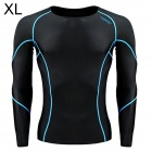 Santic MN120252 Men's Outdoor Cozy Sports Jersey for Hiking / Cycling - Black + Blue (XL)