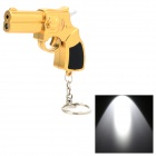 Multifunction Mini Handgun Style LED White Light Flashlight Keychains - Golden (3 x LR1130)