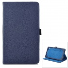 Lychee Grain Style Protective PU Leather Case for Google Nexus 7 II - Dark Blue