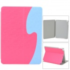 ''S'' Style Protective PU Leather + Plastic Flip Open Case w/ Stand for iPad Air - Deep Pink + Blue