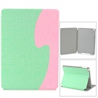 ''S'' Style Protective PU Leather + Plastic Flip Open Case w/ Stand for iPad Air - Green + Pink