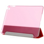Protective Flip Open de tres veces PU + plástico Wake-up / Sleep caso de Ipad AIR - Rojo