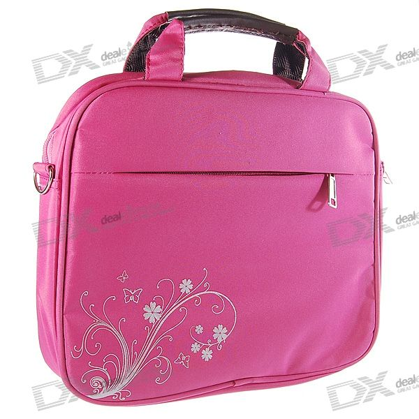"Quality Charming Nylon Carrying Bag with Shoulder Strap for 10.2"" Laptop (Pink)"