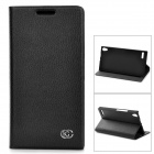 KUCHI A2 Protective Flip Open Cow Leather + PU Case for Huawei P6 - Black