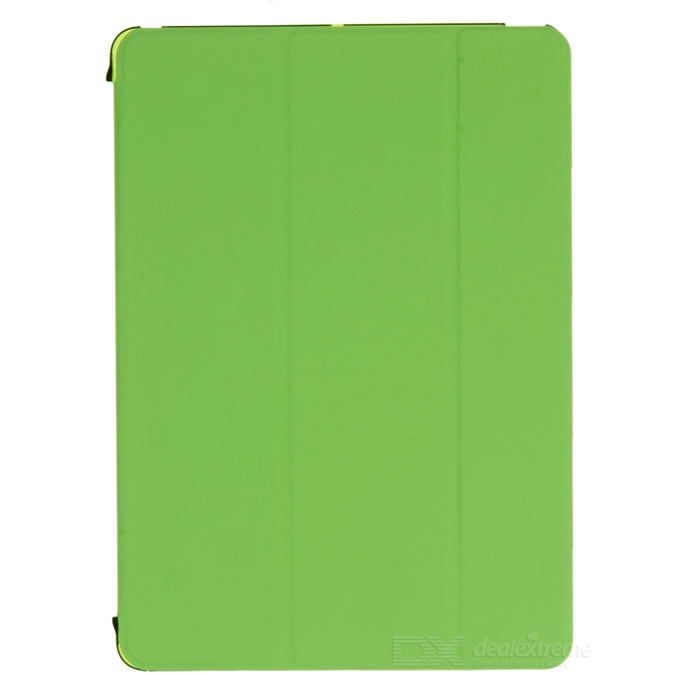 Protective Flip Open Three-fold PU + Plastic Wake-up / Sleep Case for Ipad AIR - Green