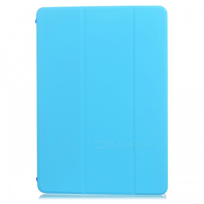Protective Flip Open Three-fold PU + Plastic Wake-up / Sleep Case for Ipad AIR - BlueIpad Cases<br>Form  ColorBlueBrandN/AModelN/AQuantity1 DX.PCM.Model.AttributeModel.UnitMaterialPU + plasticCompatible ModelsIPAD AIRStyleFlip OpenAuto Wake-up / SleepYesPacking List1 x Case<br>