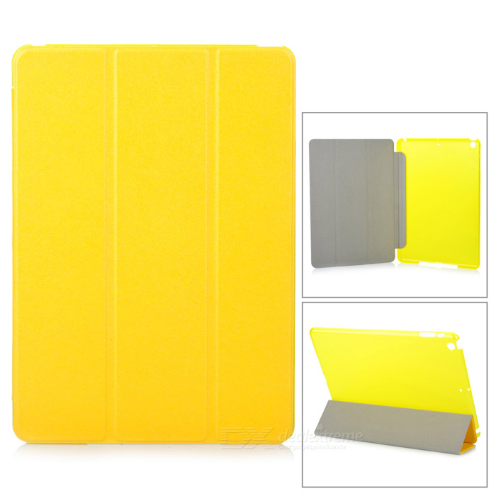 Protective Flip Open Three-fold PU + Plastic Wake-up / Sleep Case for Ipad AIR - Yellow