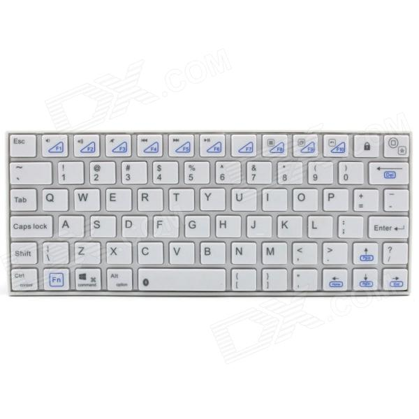 KB07 Mini Handheld Wireless Bluetooth V3.0 78-Key Keyboard - White (2 x AAA)