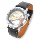 JARAGAR Hollow Rome Digital Genuine Leather Mechanical Watch - Black + Silver